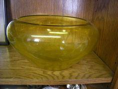 Vintage Yellow Green Amber Old Uranium Glass Fishbowl | eBay