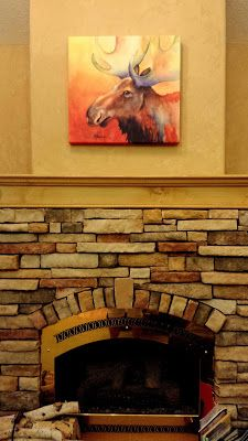 Colorful moose on gallery wrap. Great mantel art