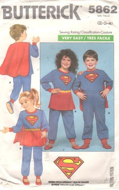 Butterick 5862 Childs Very Easy Superheros Superman Supergirl by mbchills