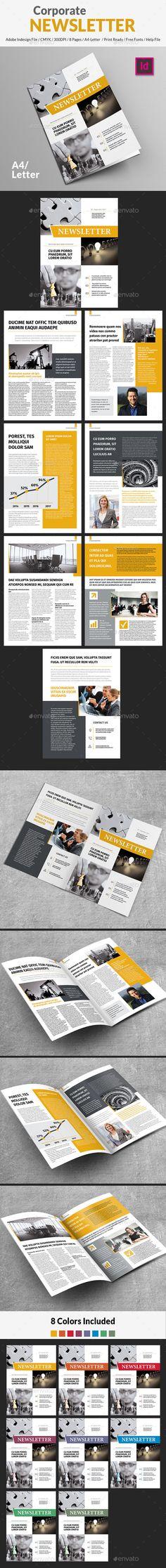 Corporate Newsletter Template InDesign INDD. Download here: https://graphicriver.net/item/corporate-newsletter/17571240?ref=ksioks