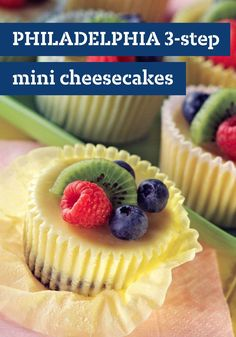 PHILADELPHIA 3-Step Mini Cheesecakes – Easy? Check. Delicious? Check. Bite-sized? You betcha. It's going to be hard to beat this tasty treat recipe! Top with fresh blueberries, raspberries and kiwi, and you've got yourself a winning dessert recipe. They may be mini in size, but they pack a lot of flavor that friends and family are sure to enjoy.