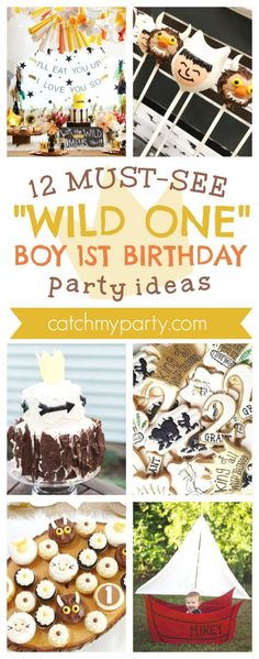 """12 Must-See """"Wild One"""" Boy 1st Birthday Party Ideas I CatchMyParty.com #wherethewildthingsareparty #1stbirthdayparty #boy1stbirthday #wildone1stbirthday #wildone #wildoneboybirthday #wildonepartyideas"""