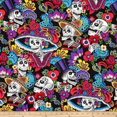 Alexander Henry Folklorico Dia de la Catrina Black from @fabricdotcom  Designed by De Leon Design Group for Alexander Henry, this cotton print fabric is perfect for quilting, apparel and home decor accents. Colors include black, grey, blue, pink, red and green.