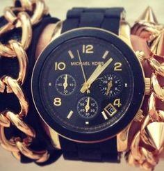 【関税無】Michael Kors♥クール!!ブラック腕時計