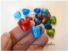 20 Heart Glass Beads Silver Foil 12mm Hole by ValniDesignsSupplies