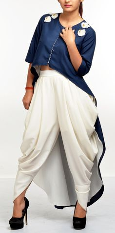 Salt & Spring. EMBELLISHED CAPE WITH DHOTI PANTS Western Dresses, Western Outfits, Indian Dresses, Indian Outfits, Indian Attire, Indian Wear, Kurta Designs, Blouse Designs, Indian Designer Wear