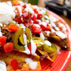 Vegetarian Nachos made with Heluva Good!® Colby-Jack Cheese and Heluva Good!® Jalapeño Cheddar Dip