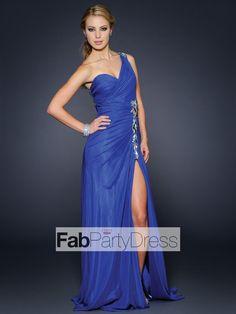 A-line One Shoulder Beading Sleeveless Floor-length Chiffon Prom Dresses / Evening Dresses - FabPartyDress.com