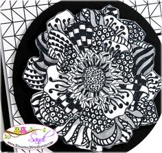 2014 Stampin Up blended Bloom Zentangled , TECHNIQUE What are Zentangles?  doodles that are the same and repeated within a space, for example here, each petal.