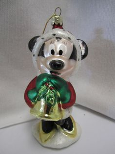 Disney Minnie Mouse Glass Christmas Ornament Santa Holly Gold Bell Mrs Claus