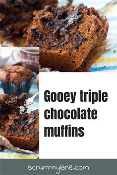 Are these the ultimate chocolate chip muffins? These oozy, gooey triple chocolate muffins have a delicious warm truffle centre. It's chocolate overload - in a good way! #chocolatechipmuffins #muffins #chocolate #scrummylane