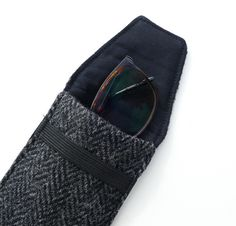 HARRIS TWEED glasses case, gift for men, black and grey herringbone £19.00