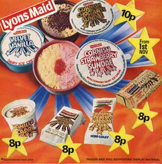 What did you hanker for? Did the cider and Brandy Alexander lollies give you a taste for booze? Did you ever win that hovercraft? Retro Advertising, Vintage Advertisements, Ice Cream Prices, 80s Food, Ice Cream Poster, Brandy Alexander, Just In Case, Just For You, Strawberry Sundae