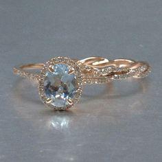 2 Aquamarine Ring Bridal Set,Engagement ring Rose gold,Diamond wedding band,14k,6x8mm Oval Cut,Blue Gemstone Promise,Curved Matching Band