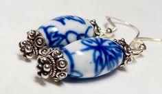 Chinese Porcelain Earrings Chinese Earrings Blue Porcelain Earrings Bali Silver Earrings Chinese Vintage Earrings Bali Jewelry Bali Earrings by EclecticDesigns on Etsy https://www.etsy.com/listing/234497731/chinese-porcelain-earrings-chinese