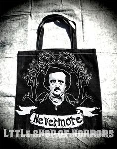 Nevermore Canvas Bag by LttleShopOfHorrors on Etsy