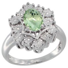 $97.10 USD, Sterling Silver Natural Green Amethyst Ring 7x5 by WorldJewels
