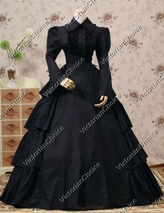 Gothic Victorian Black Dress Gown Penny Dreadful Theater Steampunk Clothing 007 #VictorianChoice #Dress