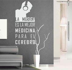 Vinilo texto decorativo que cita una frase sobre la música.