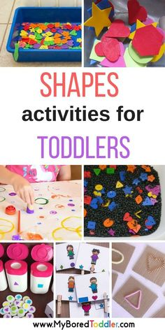 Shapes activities for toddlers. A collection of shape crafts and activities that are perfect for 1 year olds, 2 year olds, 3 year olds. Shape sorting, matching, sensory play and more