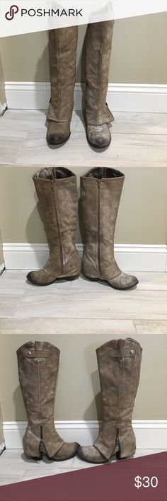 Tan suede tall boots Tan suede tall Fergie boots. Good used condition. Fergie Shoes