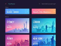 Trips App - Trip Planner designed by Sourav Maity ℠. Connect with them on Dribbble; App Ui Design, Interface Design, Branding Design, User Interface, Travel Planner, Trip Planner, Voucher, Vip Card, Social Media Banner