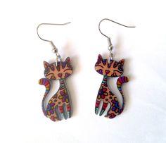 Ohrhänger - Ohrringe: Katzen gefärbt. - ein Designerstück von thislia bei DaWanda