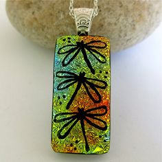 Dragonfly Pendant, Dichroic Glass, Hand Etched Glass, Fused Glass Jewelry, Unique Dichroic Necklace