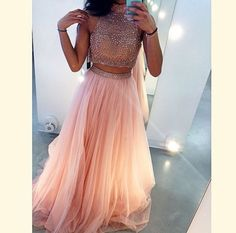 2 Pieces High Neck Tulle Prom Dress With Beaded #prom #party #dress
