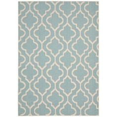 Style doesn't stop at the back door—this blue olefin rug is safe to put on your back patio or deck. Double Quatrefoil Teal 5x7 Indoor/Outdoor Rug | Weekends Only Furniture and Mattress
