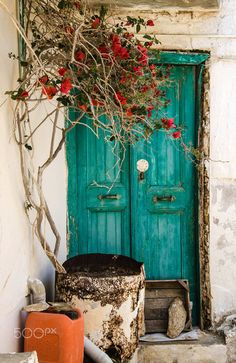 Old door in Achlada, Crete, Greece