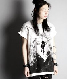 Beauty Face Printing Mens/Womens Punk Style Loose T-Shirt short sleeve