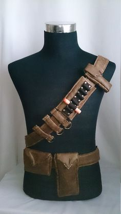 Bandolier/Utility Belt System For Steampunk Adventurers Faux Distressed Leather