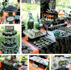 A Mossy Oak and safety orange themed dessert buffet that actually looks fucking elegant as all get-out. Holy shit. I love the way this is set up- I mean, change the colors and lose the duck and it's nearly perfect. o.O
