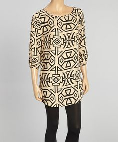 Look what I found on #zulily! Beige & Black Geometric Tunic by Adrienne #zulilyfinds