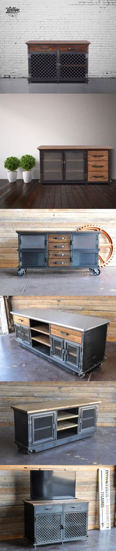 Console tables built by Vintage Industrial in Phoenix. We make them from scratch and can customize them in many ways.