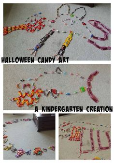Creative Kindergartner Uses Halloween Candy as Art (and won't eat any!)