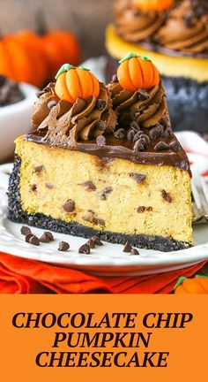 This Chocolate Chip Pumpkin Cheesecake is thick, creamy and full of pumpkin and chocolate! It's a great flavor combination and such a fun fall dessert idea! Pumpkin Cheesecake Recipes, Best Cheesecake, Pumpkin Recipes, Thanksgiving Desserts, Fall Desserts, Delicious Desserts, Dessert Recipes, Canned Pumpkin Pie Filling, Desserts For A Crowd