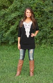 A Touch Of Lace Tunic Black $35.00