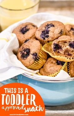 Mini Blueberry Muffins (Toddler Approved) - Fork and Beans Frozen Blueberry Recipes, Mini Blueberry Muffins, Mini Muffins, Blue Berry Muffins, Toddler Muffins, Toddler Snacks, Kid Snacks, Healthy Snacks, Baby Food Recipes