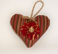 #Striped [Red, Gold, Green, Black] Heart-shaped Lavender #Sachet; Perfect #Hostess Gift, #Teacher present; has Charming Gold Rose & Fabric Flower detail $10 by DesignsbyChristine
