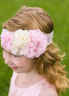 The Hair Bow Company I Light Pink & Ivory Vintage Pearl & Rhinestone Floral Headband **NEW** $3.99