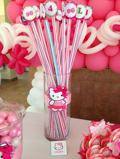 Themed candy at a Hello Kitty party!  See more party ideas at CatchMyParty.com!