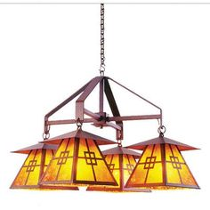 Steel Partners Prairie 4 Light Shaded Chandelier Finish: Architectural Bronze, Shade / Lens: Amber Mica