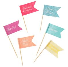 "These charming food flags will charm your party guests with their delicate gold floral patterns and sparkly string embellishments. Go to town - decorate your party food! > Measures 4"" high > Pack of 2"