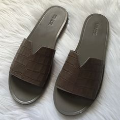 Vince Leather Slides Great for everyday use and great with shorts or a dress. Excellent condition. Barely there wear from store. Color: woodsmoke. Offers welcome through offer tab. No trades. 1511161491 Vince Shoes