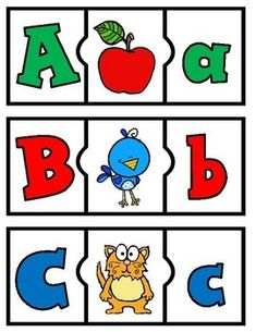 These alphabet puzzles are perfect for Prek and Kinder, Childcare and/or daycare classrooms. They are made with bright and eye popping clip art and colorful letters. Kindergarten Language Arts, Kindergarten Readiness, Preschool Kindergarten, Phonics Words, Phonics Games, Alphabet Activities, Preschool Alphabet, Educational Activities, Classroom Activities