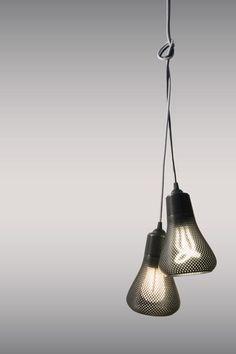 Printed Lamp Shades for Plumen Bulbs - Design Milk Interior Lighting, Home Lighting, Lighting Design, Pendant Lighting, Impression 3d, Ceiling Decor, Ceiling Lights, Print 3d, Low Energy Light Bulbs