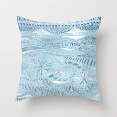 Light Blue Abstract Throw Pillow Cover pastel pillow by lake1221
