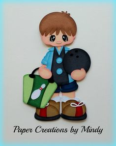 Craftecafe Mindy Sports Bowling girl boy premade paper piecing scrapbook page